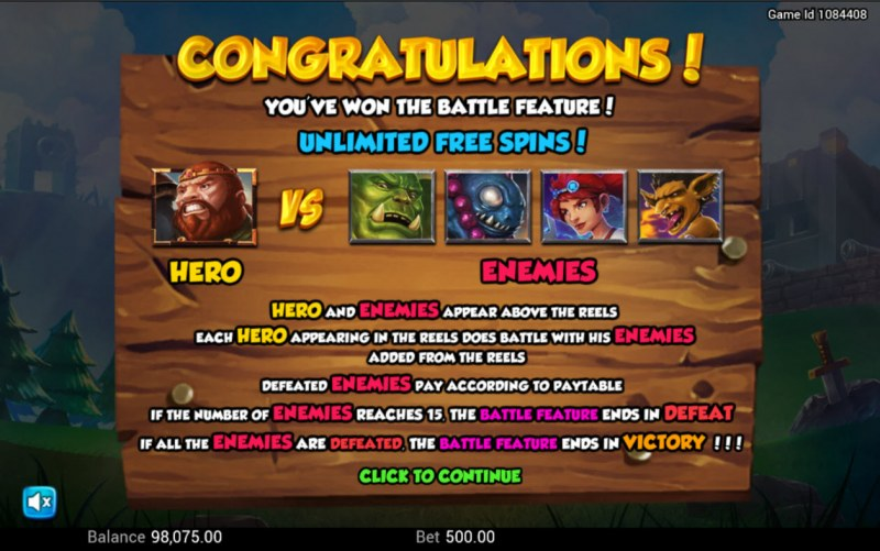 Battle Heroes :: Unlimited Free Spins