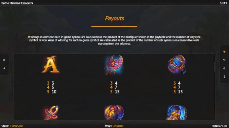 Battle Maidens Cleopatra :: Paytable - Medium Value Symbols