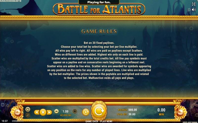 Battle of Atlantis :: General Game Rules