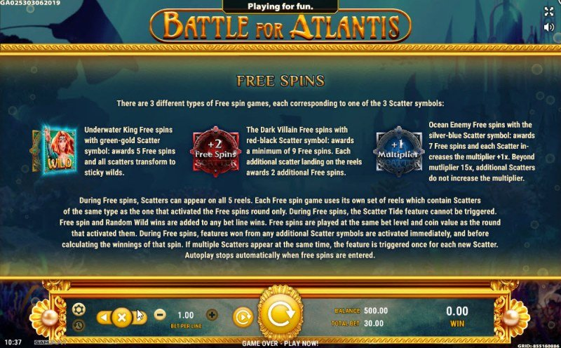 Battle of Atlantis :: Free Spins Rules