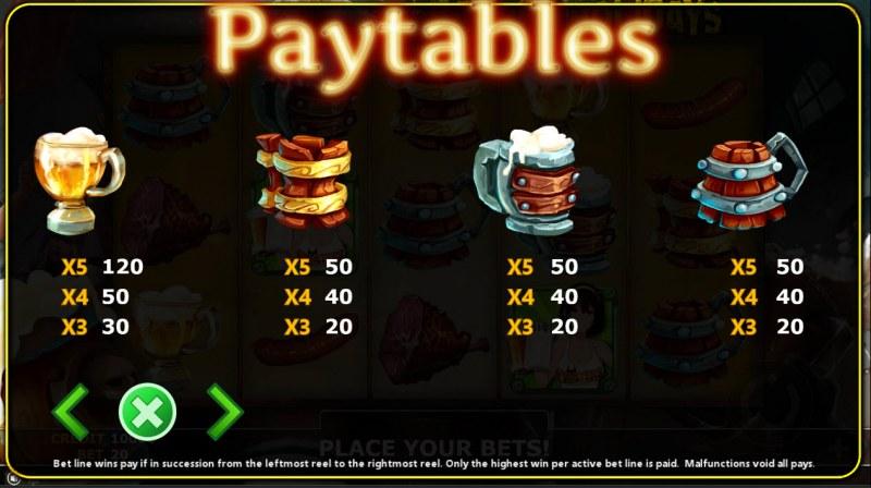 Baviera Holidays :: Paytable - Low Value Symbols