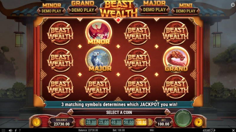 Beast of Wealth :: Pick until three matching jackpot symbols are revealed
