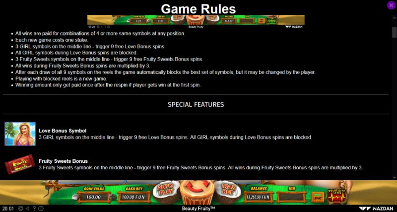 Beauty Fruity :: General Game Rules