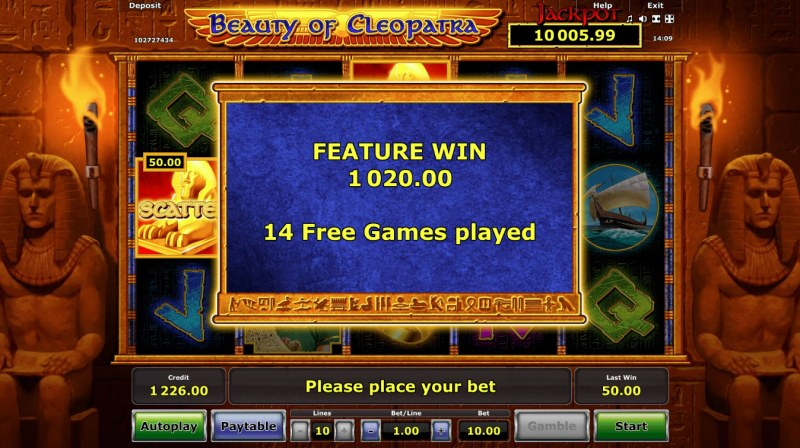 Beauty of Cleopatra :: Total free spins payout
