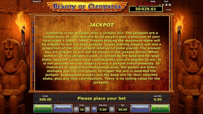 Beauty of Cleopatra :: Jackpot Rules