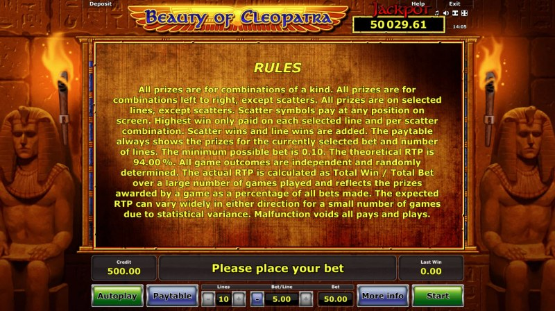 Beauty of Cleopatra :: General Game Rules