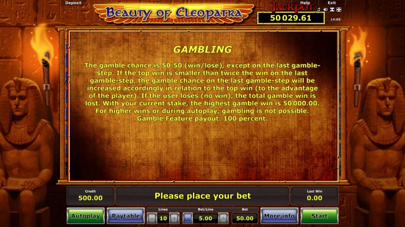 Beauty of Cleopatra :: Gamble Feature Rules