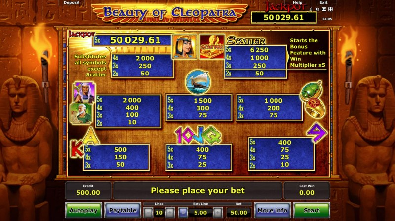 Beauty of Cleopatra :: Paytable