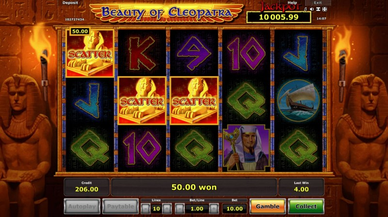 Beauty of Cleopatra :: Scatter symbols triggers the free spins feature