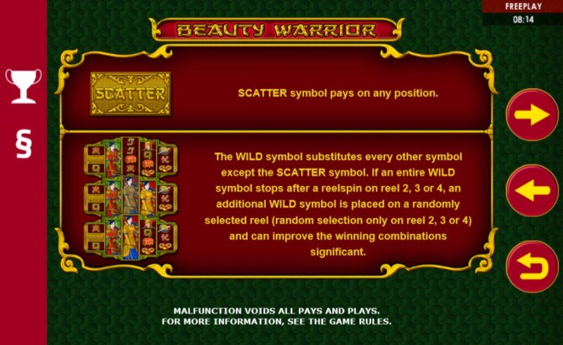 Beauty Warrior :: Scatter Symbol Rules
