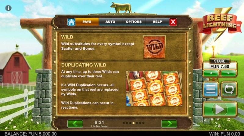 Beef Lightning Megaways :: Wild Symbol Rules