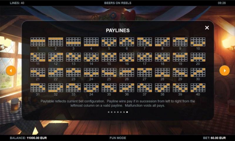 Beers on Reels :: Paylines 1-40