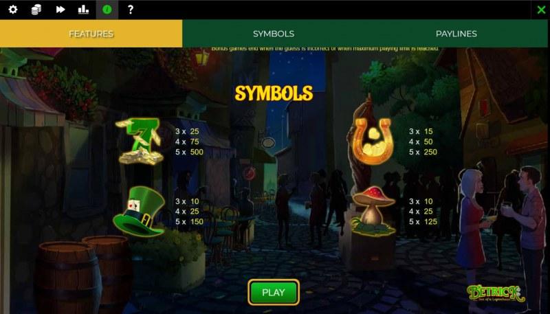 Betrick Son of a Leprechaun :: Paytable - High Value Symbols