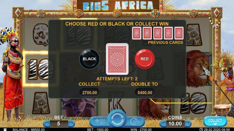 Big 5 Africa :: Black or Red Gamble Feature