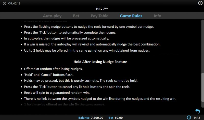 Big 7 :: Hold After Losing Nudge Feature