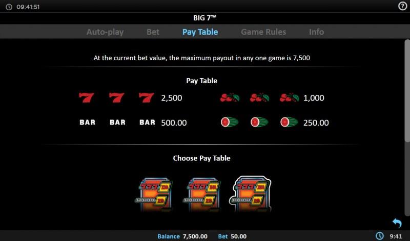 Big 7 :: Paytable