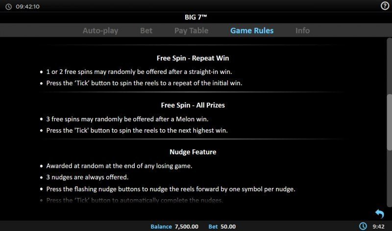 Big 7 :: Free Spin Feature Rules