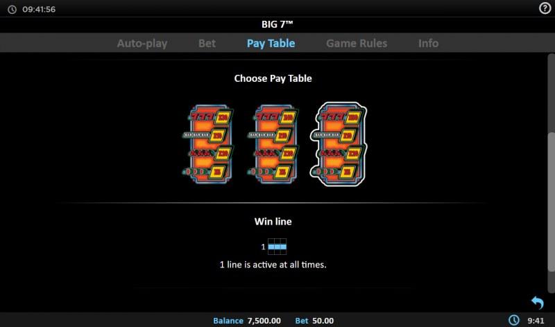 Big 7 :: Choose a paytable