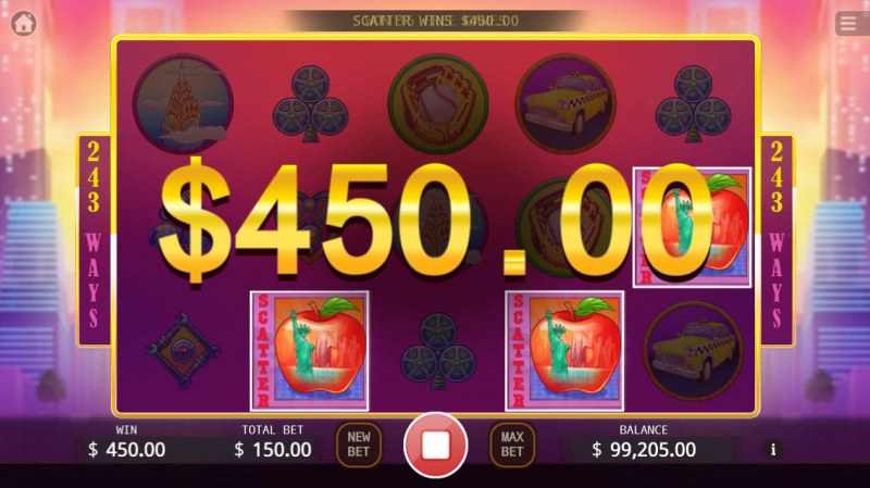 Big Apple :: Scatter symbols triggers the free spins feature