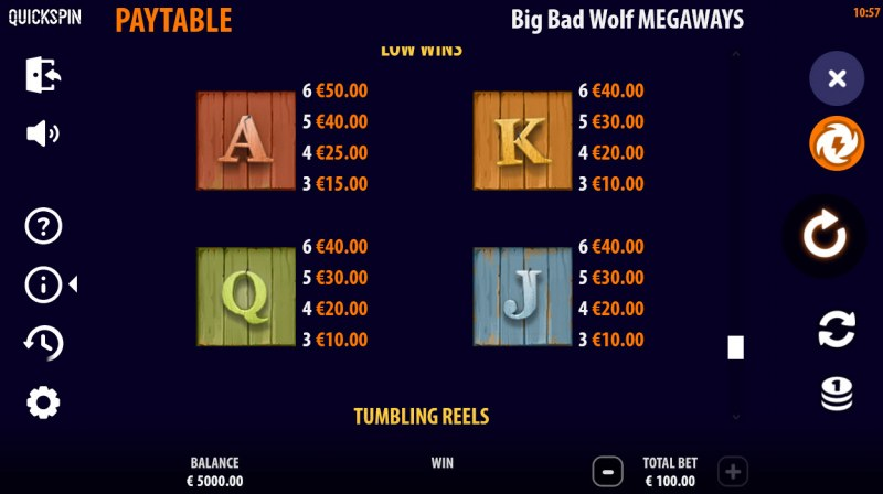 Big Bad Wolf Megaways :: Paytable - Low Value Symbols