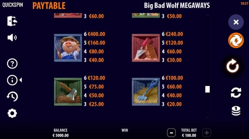 Big Bad Wolf Megaways :: Paytable - Medium Value Symbols