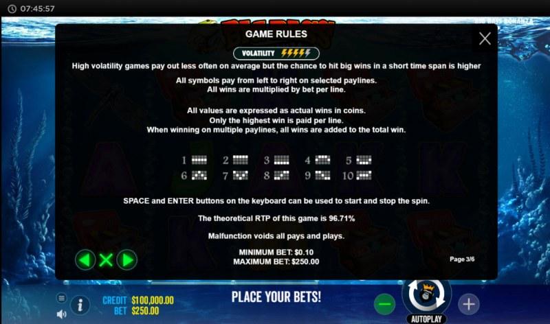 Big Bass Bonanza :: General Game Rules