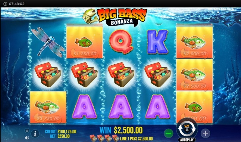 Big Bass Bonanza :: A four of a kind win