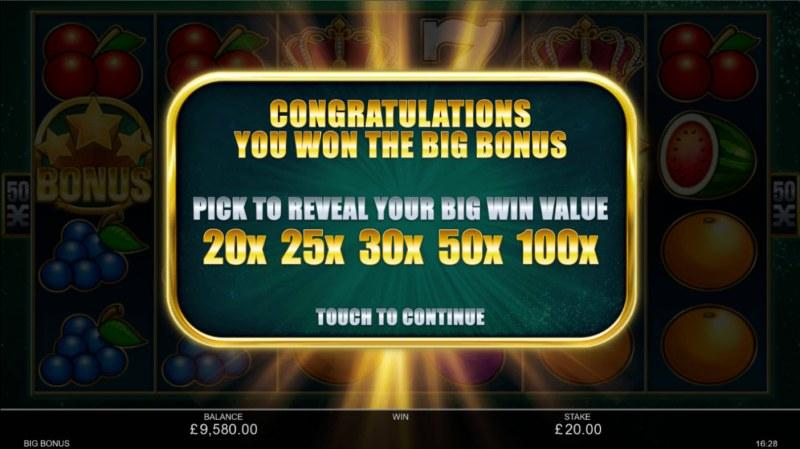 Big Bonus :: Pick to reveal your big win value