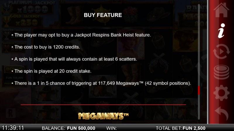 Big Bucks Bandits Megaways :: Buy Feature