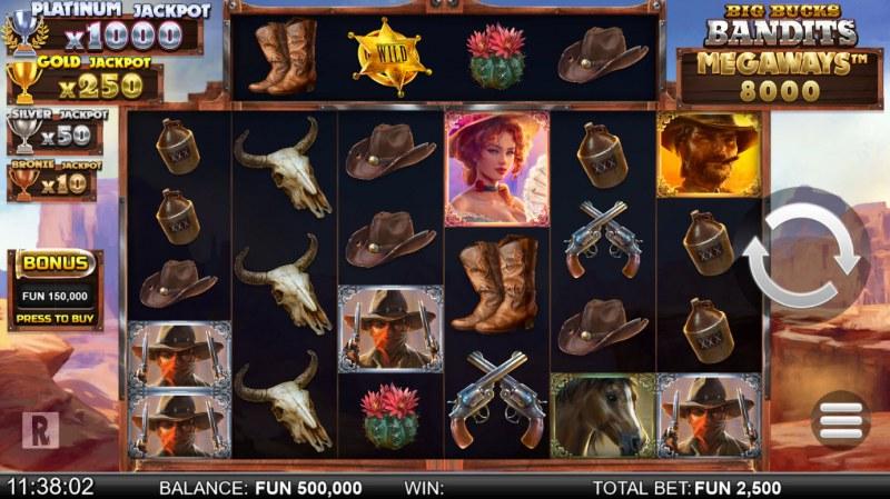 Big Bucks Bandits Megaways :: Main Game Board