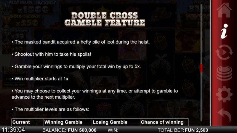 Big Bucks Bandits Megaways :: Double Cross Gamble Feature