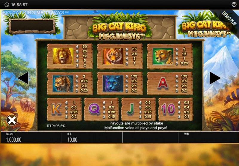 Big Cat King Megaways :: Paytable