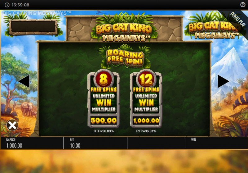 Big Cat King Megaways :: Free Spin Feature Rules
