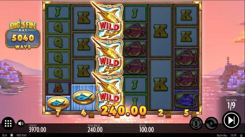 Big Fin Bay :: Stacked wild leads to multiple winning paylines