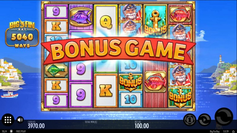 Big Fin Bay :: Scatter symbols triggers the free spins bonus feature