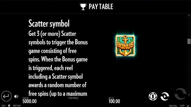 Big Fin Bay :: Scatter Symbol Rules