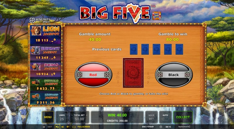 Big Five :: Red or Black Gamble Feature
