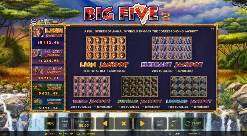 Big Five :: Jackpot Rules
