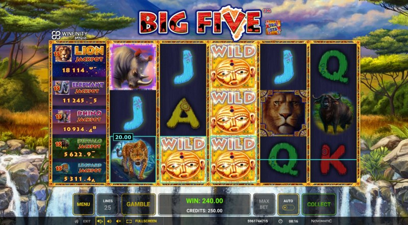 Big Five :: Stacked wild leads to multiple winning paylines
