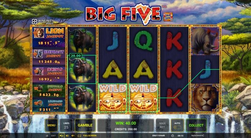 Big Five :: A three of a kind win