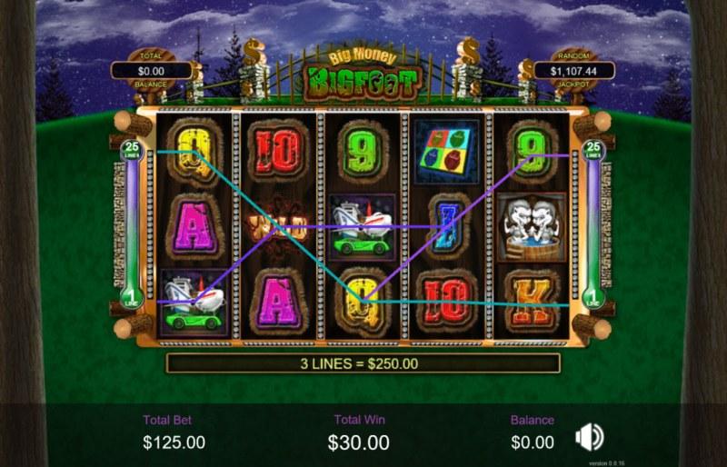 Big Money Bigfoot :: Multiple winning paylines