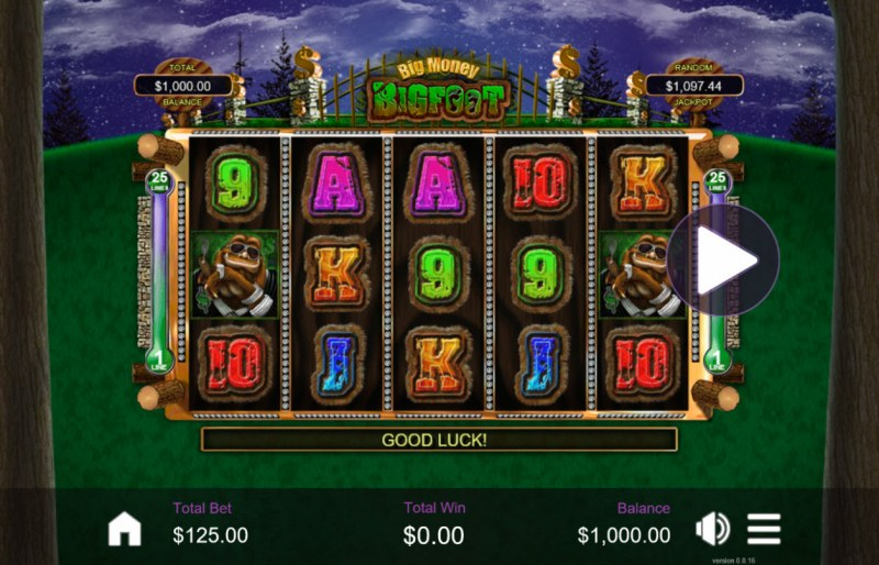 Play slots at Rushmore: Rushmore featuring the Video Slots Big Money Bigfoot with a maximum payout of $10,000