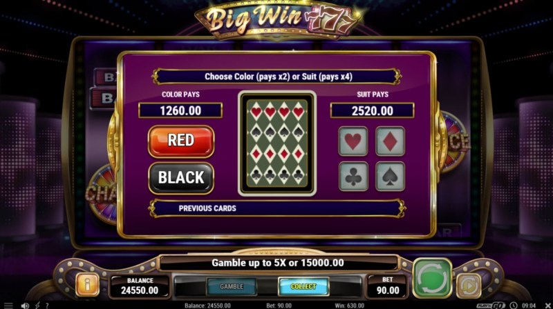 Big Win 777 :: Gamble Feature Game Board