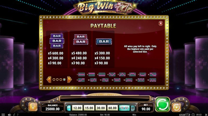 Big Win 777 :: Paytable - Low Value Symbols