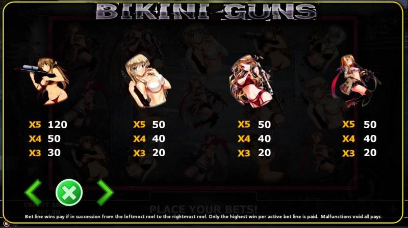 Bikini Guns :: Paytable - Low Value Symbols
