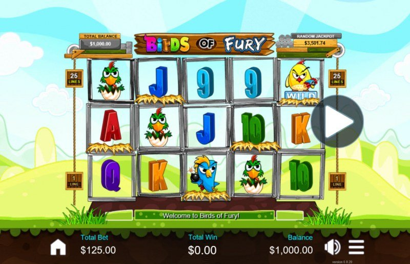 Play slots at Aussie Play: Aussie Play featuring the Video Slots Birds of Fury with a maximum payout of $37,500