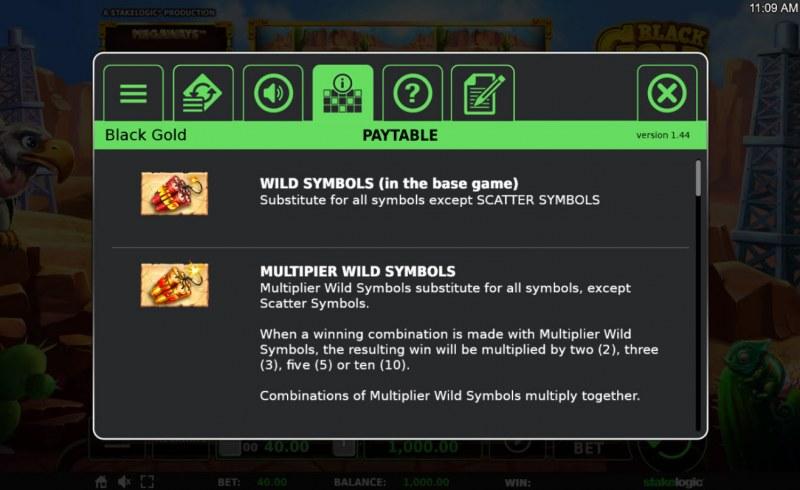 Black Gold Megaways :: Wild Symbols Rules