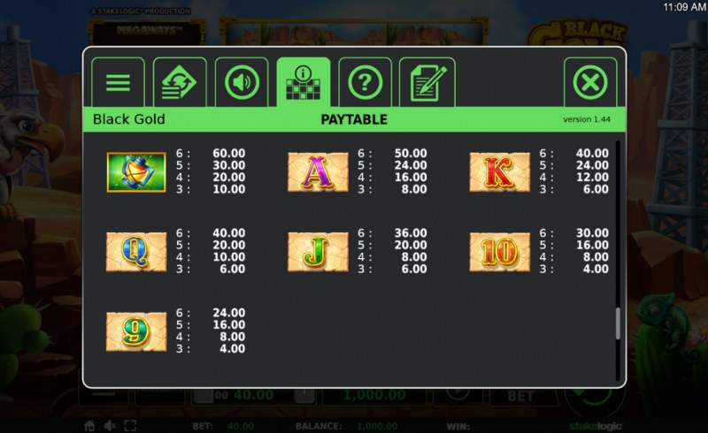 Black Gold Megaways :: Paytable - Low Value Symbols