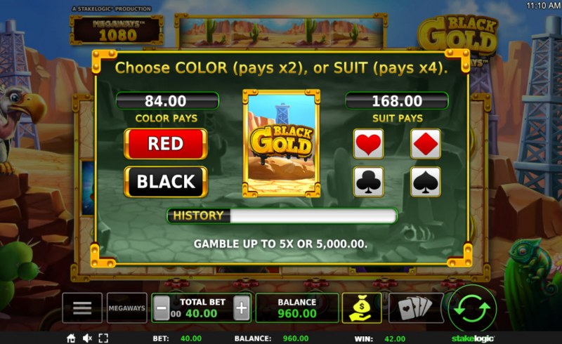 Black Gold Megaways :: Gamble Feature Game Board