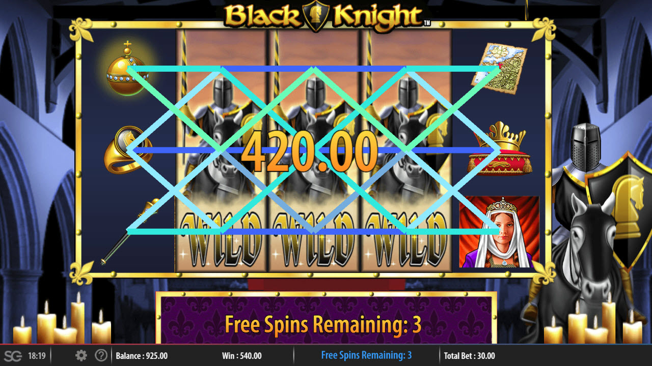 Black Knight :: Stacked wilds triggers multiple winning paylines